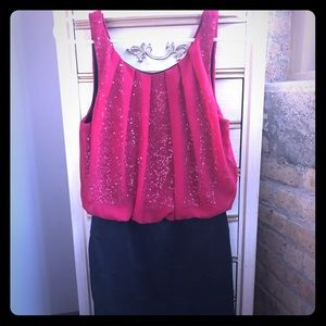 Red and black sparkly dress
